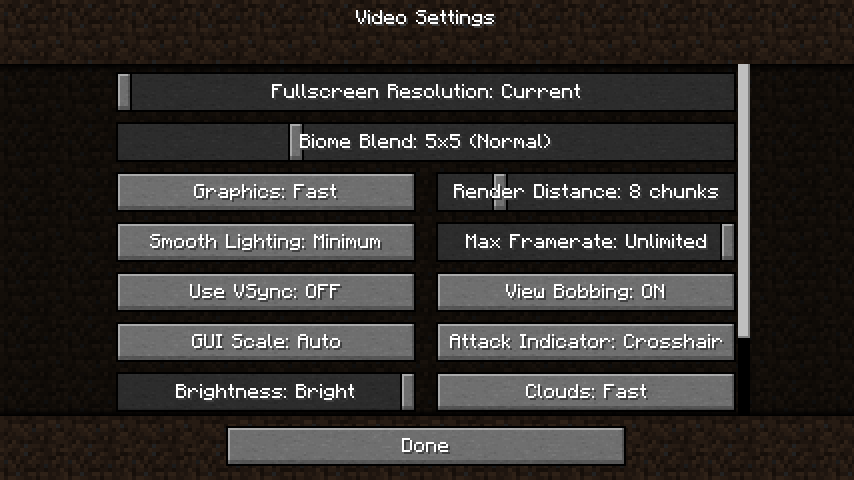 A settings screen of Minecraft