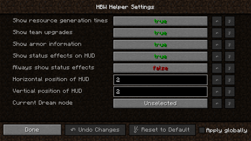 My mod's settings screen