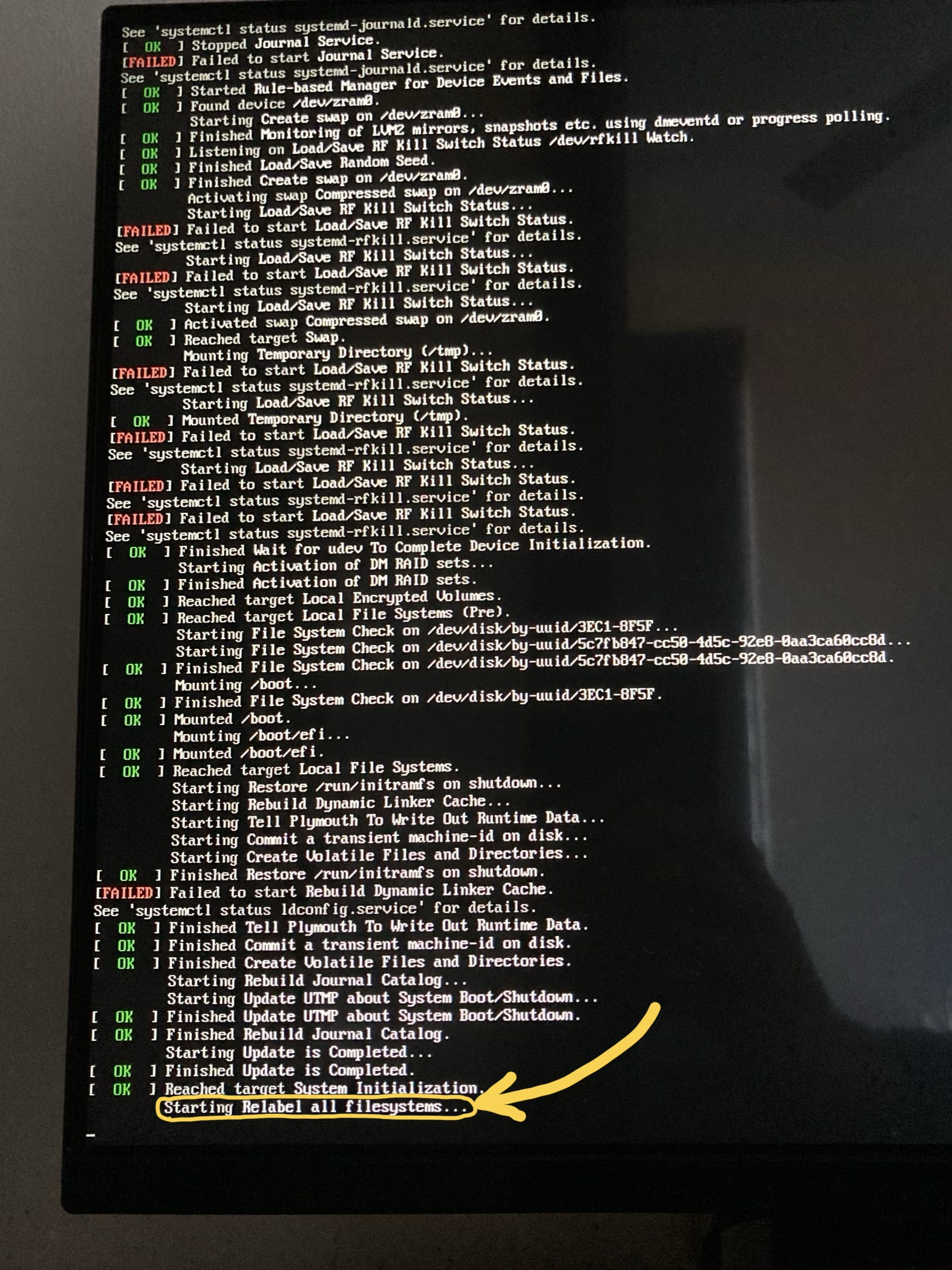 Boot message indicating file systems are being relabeled for SELinux